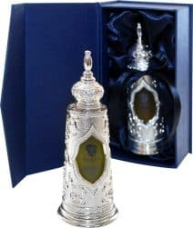 Luxurious  Silver Torah Anointing Oil Bottle with Light of Jerusalem Scented