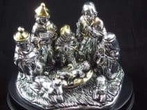 25 Electroformed Silver Holy Land Nativity Scene Miniature