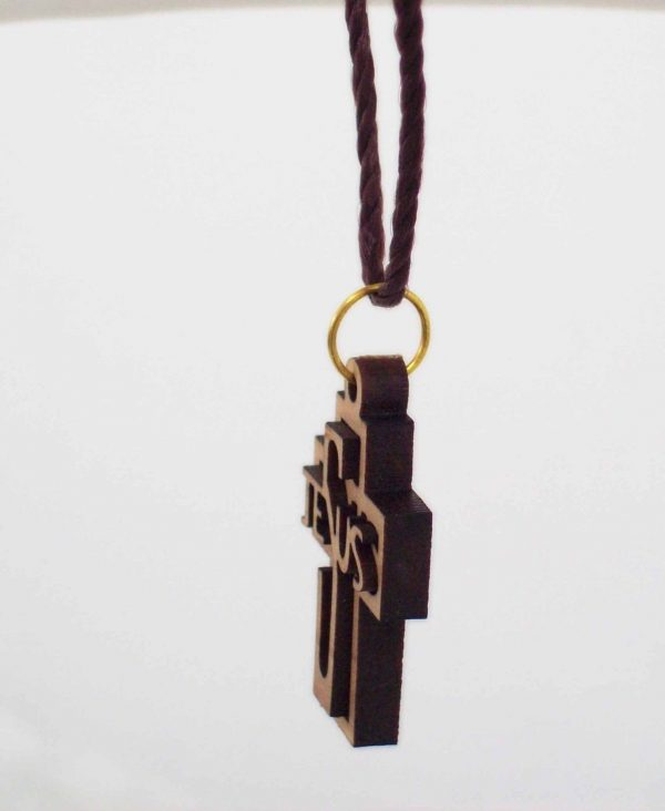 Cross With  Jesus Name Engraved  Pendant  in Holy Land Olive Wood