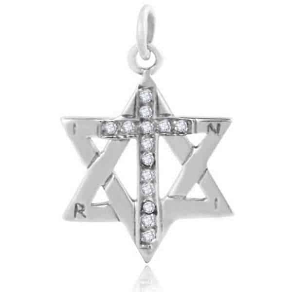 Messianic 925 sterling silver star of david with cross pendant messianic 925 sterling silver star of david with cross pendant aloadofball Gallery