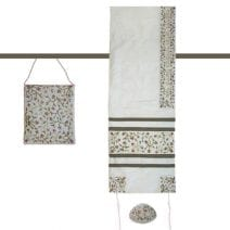 Embroidered Flowers Tallit Set  in White