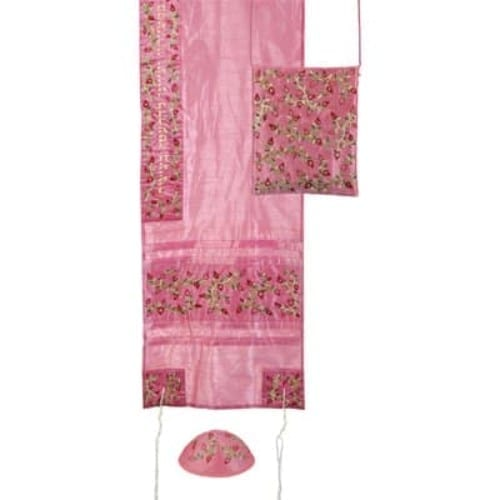 Prayer Shall Embroidered Pink Tallit Set – Pomegranates- Tallitsack