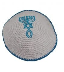 White Cotton Knitted Kippah Grafted In Turquoise