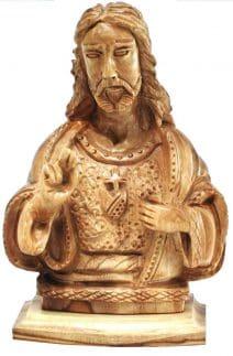 Sacred Heart of Jesus Bust Olive Wood