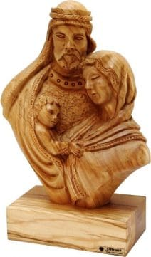 Olive Wood Holy Family Plaque Hand Carved Large