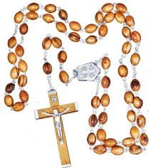 Olive Wood Jerusalem Rosary Prayer Necklace Catholic Cross Crucifix & Holy Soil