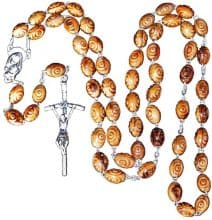 Olive Wood Jerusalem Rosary Prayer Carved Beads Catholic Cross Crucifix Holy Soil