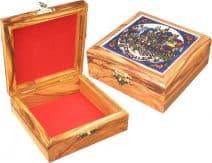 Rosary Box with Jerusalem Scene in Ceramic on Top