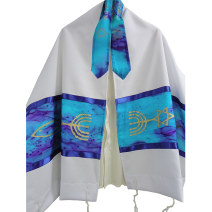 Hand Painted Silk Tallit with Messianic Seal  - Turquoise