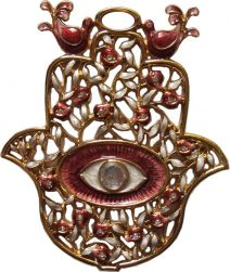 Red Hamsa with Pomegranates