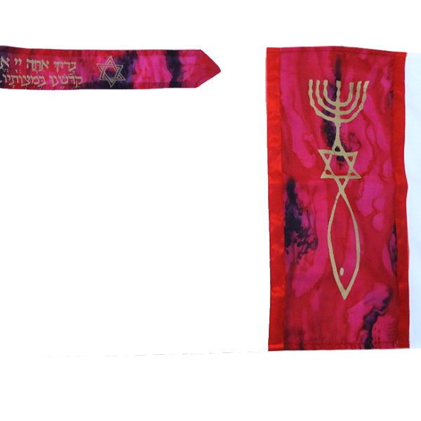 Prayer Shall Hand Painted Silk Tallit with Messianic Seal Grafted In  Maroon