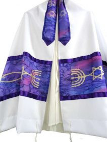 Hand Painted Silk Tallit with Messianic Seal  - Purple