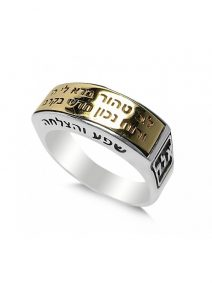 "Sterling Silver & Gold Psalm ""Lev Tahor"" Ring and God Names"