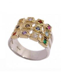 Silver & Gold Hoshen Band Ring with Genuine Gem Stones