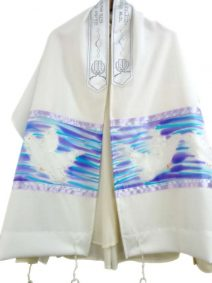 Hand Painted Prayer Shawl Doves
