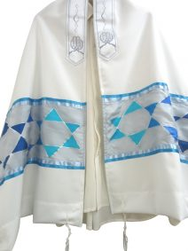 Hand Painted Silk Tallit with Stars of David Silver Prayer Shawl