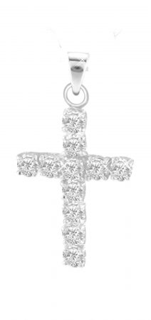 Sterling Silver Cross Pendant with White Zircon  -  Christian Jewelry - Holy Land WebStore