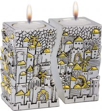 Fitted Jerusalem Candlesticks 925 Electroformed Silver