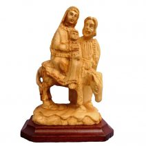 Hand Carved Holy Land Olive Wood Holy Family Flight to Egypt Biblical Art