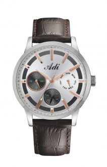 Elegant Casual Men's Wrist Watch Silver & Rose Gold by Adi
