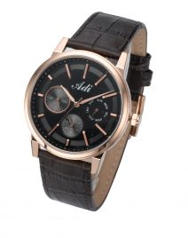 Elegant Casual Men's Rose Gold & Black Wrist Watch by Adi