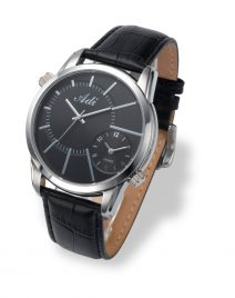 Dual Time Watch Black & Silver Wrist Watch by Adi
