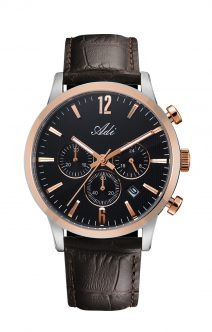 legant Casual Men's Gold & Black Wrist Watch by Adi