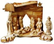 "Olive Wood Nativity Set 11 Figures 5.7""H"