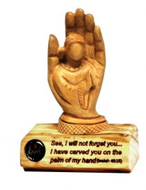 "Isaias Carved on Palm of God"" Table Plaque"