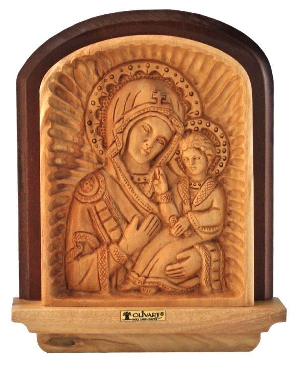 Olive Wood Icon of Virgin Mary - Panagia Hodegetria - small