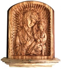 Olive Wood Icon of Virgin Mary - Panagia Hodegetria