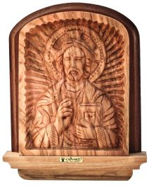 Olive Wood Jesus Christ Pantocrator Icon