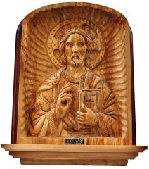 Olive Wood Jesus Christ Pantocrator Christian Orthodox Icon