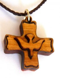 Olive Wood Cross with Holy Spirit Pendant