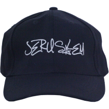 Handwriting Jerusalem Cap in Blue Navy - Israel Gift