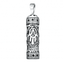 Mezuzah Pendant in Sterling Silver Hamsa with Scroll