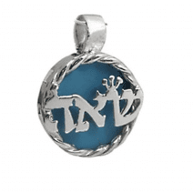 "Kabbalah Sterling Silver Pendant with Turquoise ""Shin-Alef-Heh"""