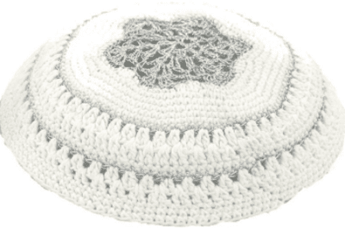 Judaica White Knitted Kippah with Silver Star of David and Stripes