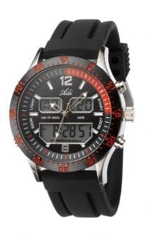 Men's Sport Red and Black Wrist Watch by Adi