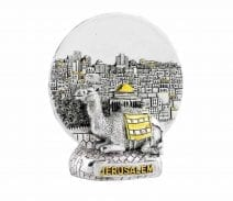 Silvered Magnet with Jerusalem View & Camel - Free Standing