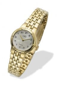 Elegant Hebrew Letters Woman in Gold Watch by Adi