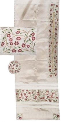 Embroidered Pomegranates with Off White Tallit w/ Kippah &Tallit Bag