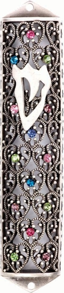 Jeweled Pewter Mezuzah Case with the letter Shin & Heart Pattern