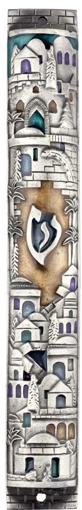 Cylindrical Pewter Mezuzah Case Jerusalem Motif in Silver