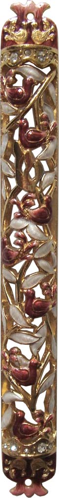 Jeweled Red Mezuzah with Doves