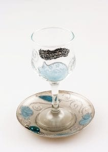 Glass Kiddush Cup Pomegranates in Blue