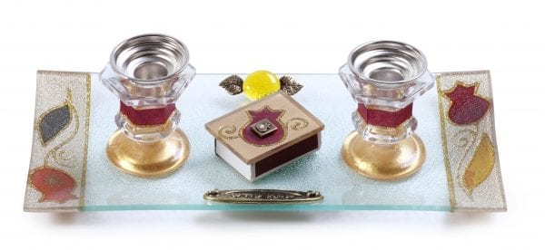 Glass Candlesticks Set with Matches Terracota Pomegranates