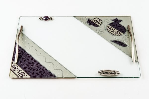 Challah Board with Handles and designed Pomegranates - Lily Art