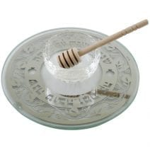 Glass Rosh Hashanah Plate with Honey Dish Pomegranates