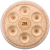 Passover Melamine Seder Plate Bege & Brown Ornaments - Home of Judaica